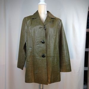 Chico's Green Croc Print Lightweight Jacket L